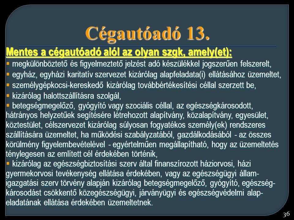 36 Cégautóadó 13.