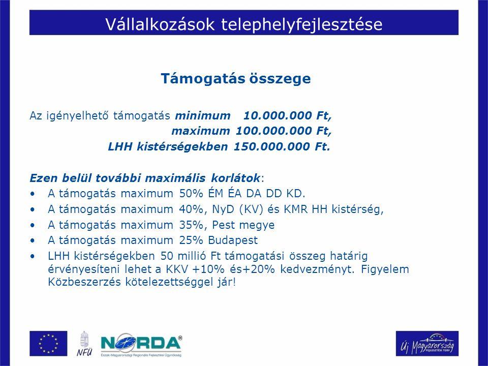 Vállalkozások telephelyfejlesztése Támogatás összege Az igényelhető támogatás minimum 10.000.000 Ft, maximum 100.000.000 Ft, LHH kistérségekben 150.000.000 Ft.