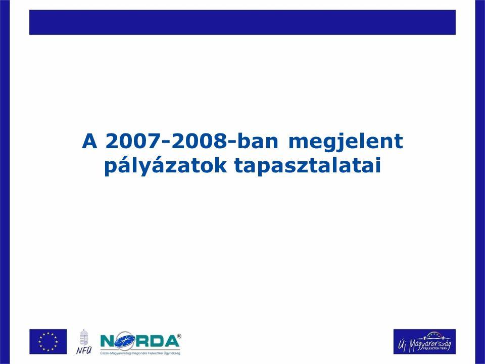 A 2007-2008-ban megjelent pályázatok tapasztalatai