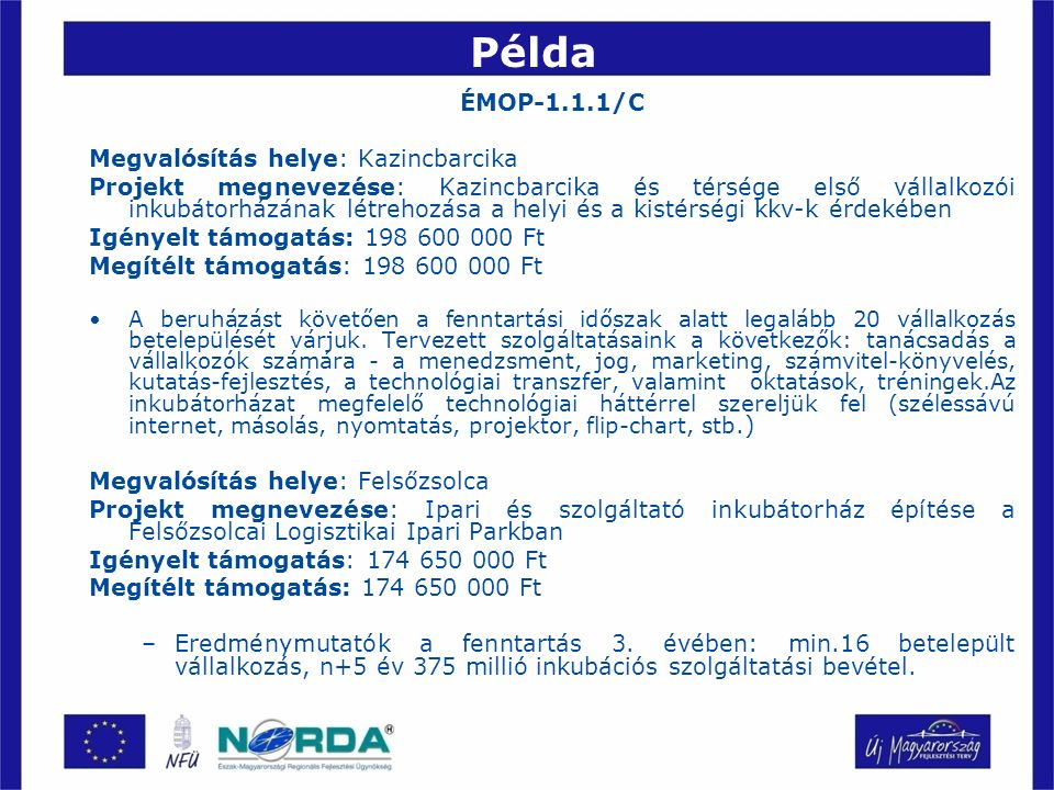 Példa ÉMOP-1.1.1/C Megvalósítás helye: Kazincbarcika Projekt megnevezése: Kazincbarcika és térsége első vállalkozói inkubátorházának létrehozása a helyi és a kistérségi kkv-k érdekében Igényelt támogatás: 198 600 000 Ft Megítélt támogatás: 198 600 000 Ft A beruházást követően a fenntartási időszak alatt legalább 20 vállalkozás betelepülését várjuk.