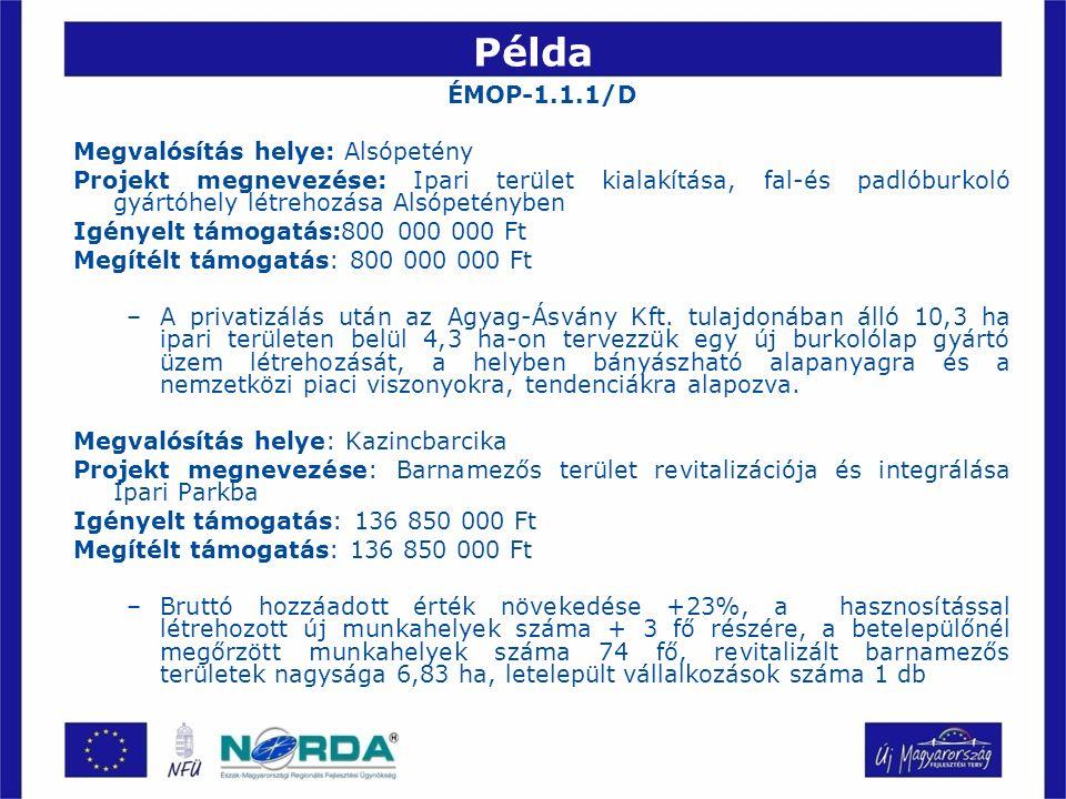 Példa ÉMOP-1.1.1/D Megvalósítás helye: Alsópetény Projekt megnevezése: Ipari terület kialakítása, fal-és padlóburkoló gyártóhely létrehozása Alsópetényben Igényelt támogatás:800 000 000 Ft Megítélt támogatás: 800 000 000 Ft –A privatizálás után az Agyag-Ásvány Kft.