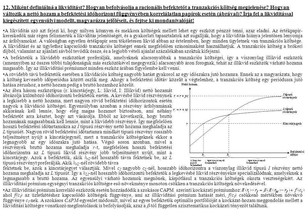 12. Miként definiálná a likviditást? Hogyan befolyásolja a racionális befektetőt a tranzakciós költség megjelenése? Hogyan változik a nettó hozam a be