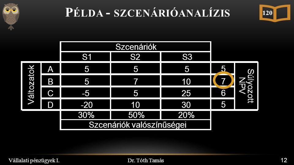 Dr. Tóth Tamás 12 P ÉLDA - SZCENÁRIÓANALÍZIS 120 S1S2S3 A555 5 B5710 7 C-5525 6 D-201030 5 30%50%20% Változatok Szcenáriók valószínűségei Súlyozott NP