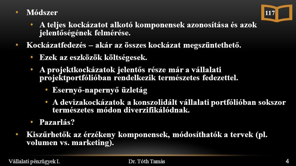 Dr. Tóth Tamás 4 Módszer A teljes kockázatot alkotó komponensek azonosítása és azok jelentőségének felmérése. Kockázatfedezés – akár az összes kockáza