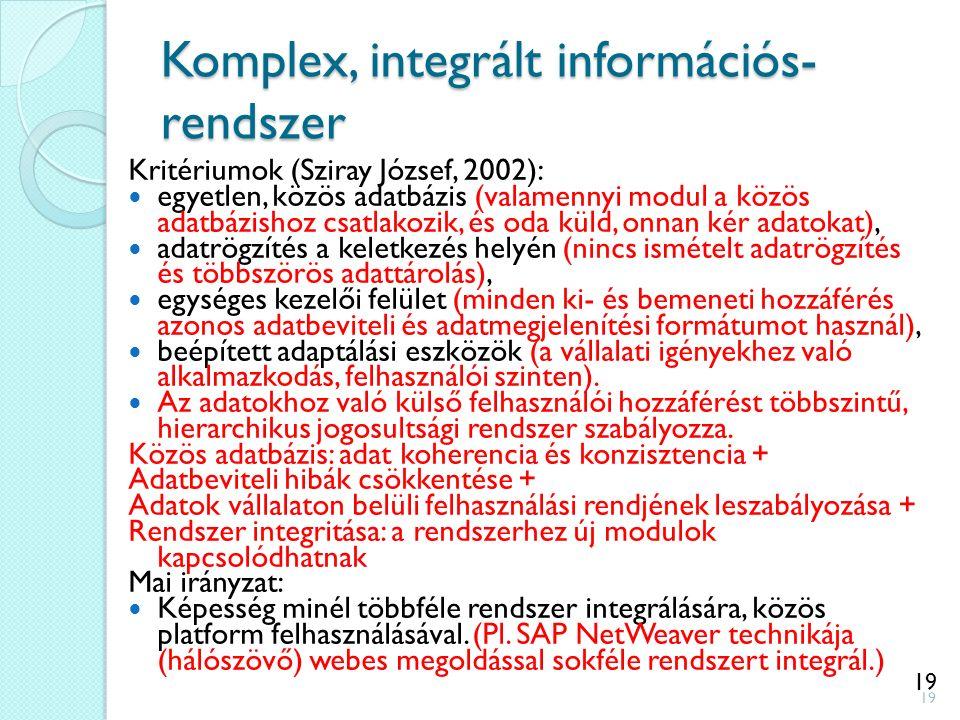 19 Komplex, integrált információs- rendszer Kritériumok (Sziray József, 2002): egyetlen, közös adatbázis (valamennyi modul a közös adatbázishoz csatla