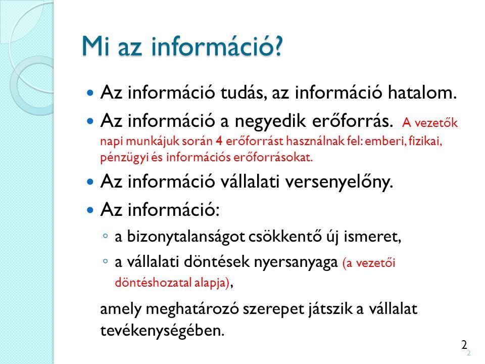 2 Mi az információ? Az információ tudás, az információ hatalom. Az információ a negyedik erőforrás. A vezetők napi munkájuk során 4 erőforrást használ