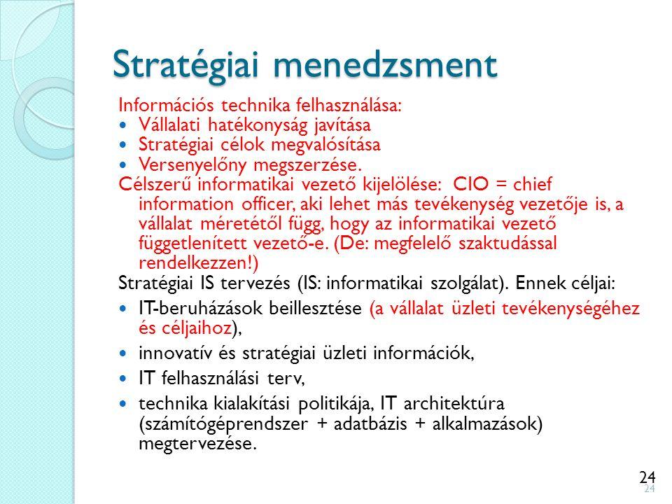 24 Stratégiai menedzsment Információs technika felhasználása: Vállalati hatékonyság javítása Stratégiai célok megvalósítása Versenyelőny megszerzése.