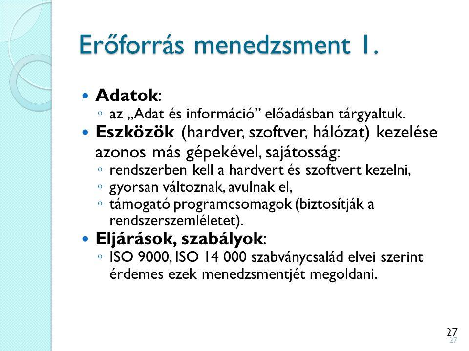 """27 Erőforrás menedzsment 1. Adatok: ◦ az """"Adat és információ"""" előadásban tárgyaltuk. Eszközök (hardver, szoftver, hálózat) kezelése azonos más gépekév"""