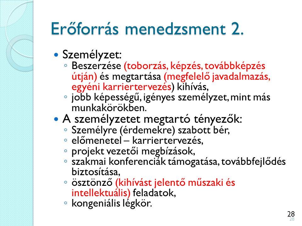 28 Erőforrás menedzsment 2. Személyzet: ◦ Beszerzése (toborzás, képzés, továbbképzés útján) és megtartása (megfelelő javadalmazás, egyéni karrierterve
