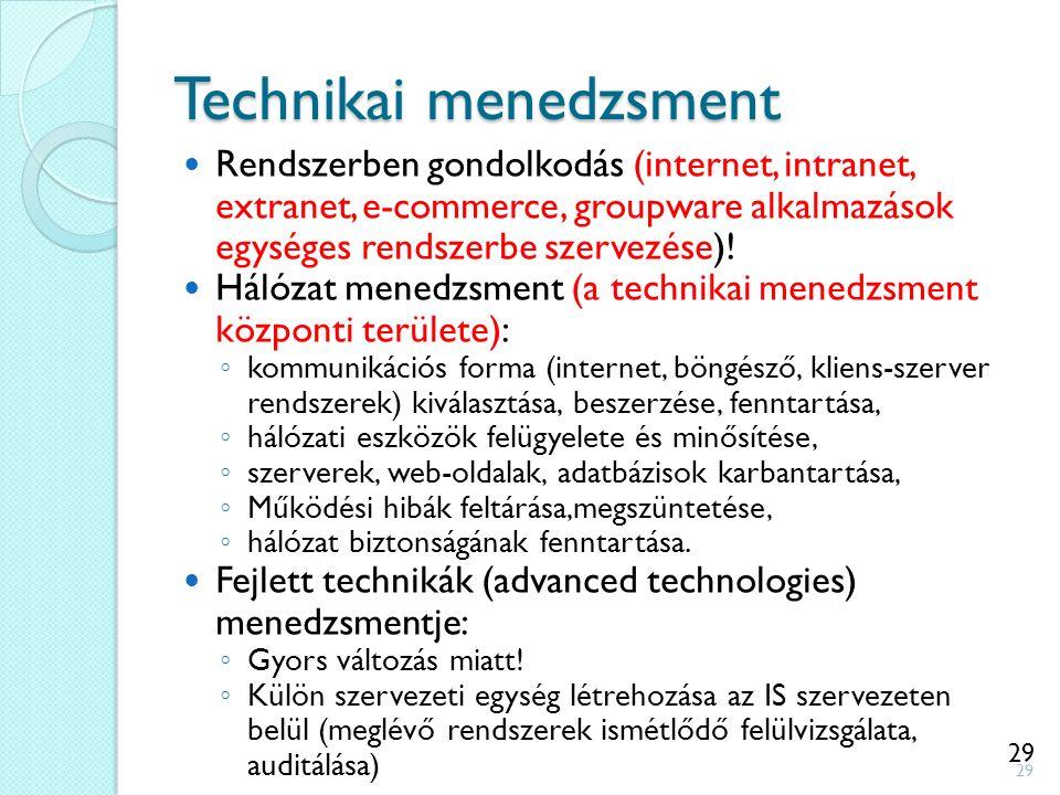 29 Technikai menedzsment Rendszerben gondolkodás (internet, intranet, extranet, e-commerce, groupware alkalmazások egységes rendszerbe szervezése)! Há