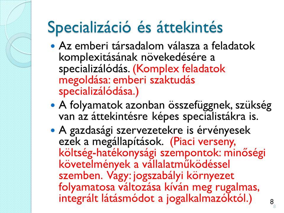 8 Specializáció és áttekintés Az emberi társadalom válasza a feladatok komplexitásának növekedésére a specializálódás.
