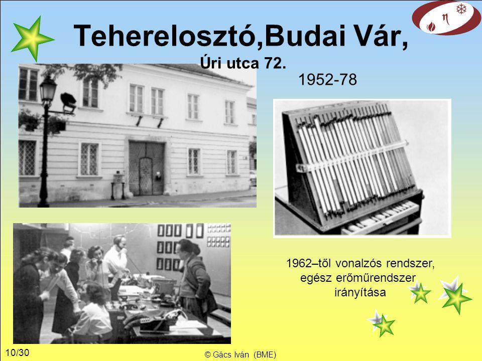 10/30 © Gács Iván (BME) 1962–től vonalzós rendszer, egész erőműrendszer irányítása 1952-78 Teherelosztó,Budai Vár, Úri utca 72.