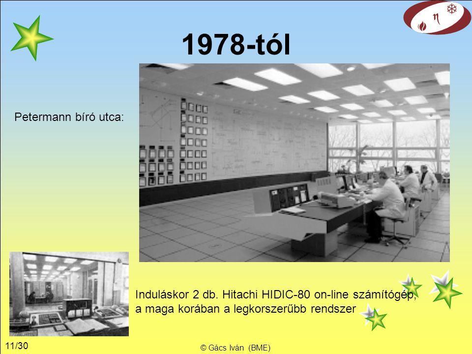 11/30 © Gács Iván (BME) 1978-tól Induláskor 2 db.