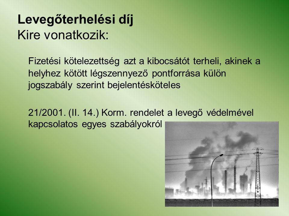 Levegőterhelési díj Kire vonatkozik: Fizetési kötelezettség azt a kibocsátót terheli, akinek a helyhez kötött légszennyező pontforrása külön jogszabály szerint bejelentésköteles 21/2001.
