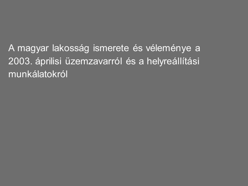 """Project """"Green 2006"""" Paksi Atomerőmű Rt. 44 A magyar lakosság ismerete és véleménye a 2003. áprilisi üzemzavarról és a helyreállítási munkálatokról"""