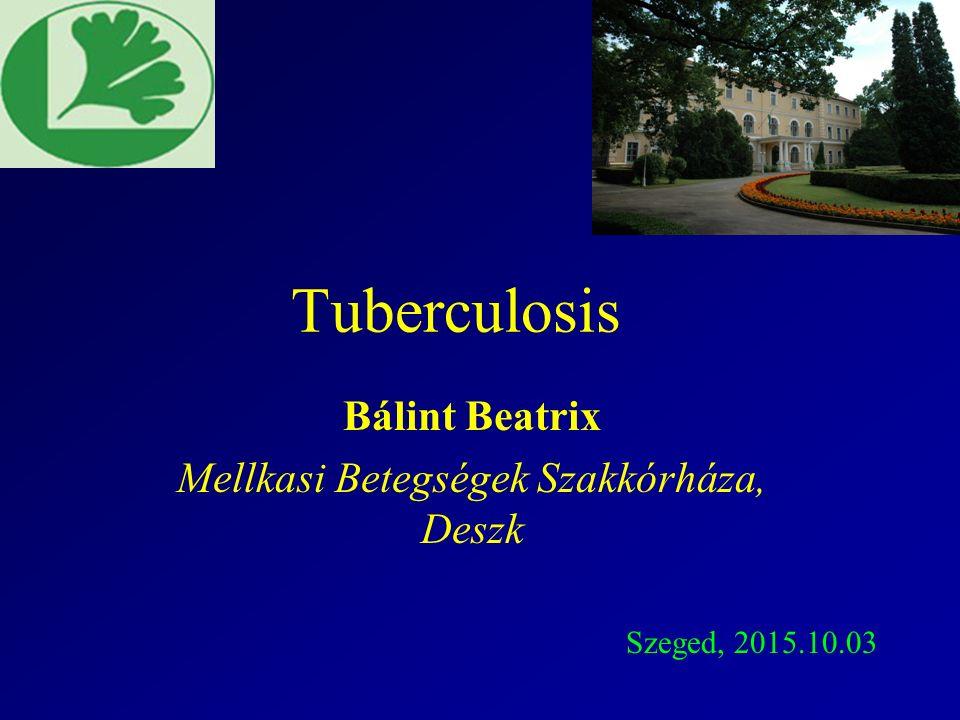 Microbiológia Mycobacterium tuberculosis: obligat, aerob parazita, saválló, lassan nő, látható coloniahoz: 4-6 hét, INH resistencia és érzékenység különböző Direct vizsgálat Ziehl-Nieelsen festés:4  m hosszú és 0,2-0,5  m széles 10 000 organismus/ml a köpetben  direkt positív Tenyésztés vér/folyadék M.