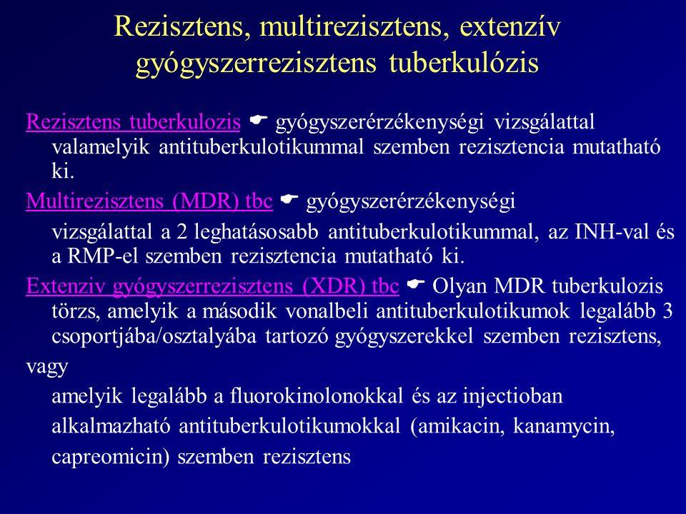 Rezisztens, multirezisztens, extenzív gyógyszerrezisztens tuberkulózis Rezisztens tuberkulozis  gyógyszerérzékenységi vizsgálattal valamelyik antituberkulotikummal szemben rezisztencia mutatható ki.