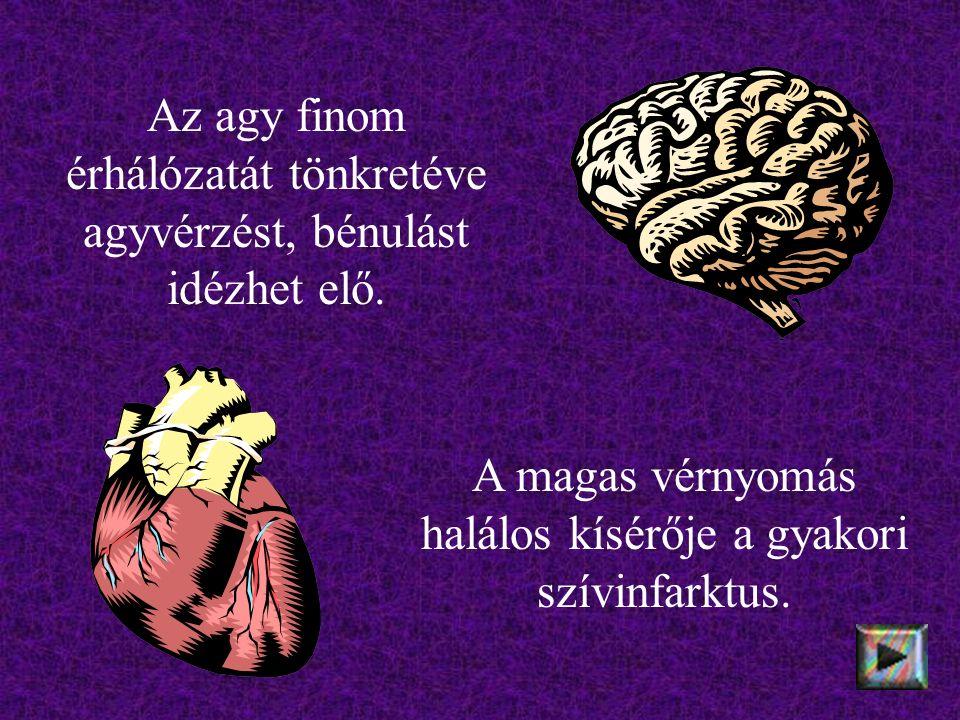 Az agy finom érhálózatát tönkretéve agyvérzést, bénulást idézhet elő.