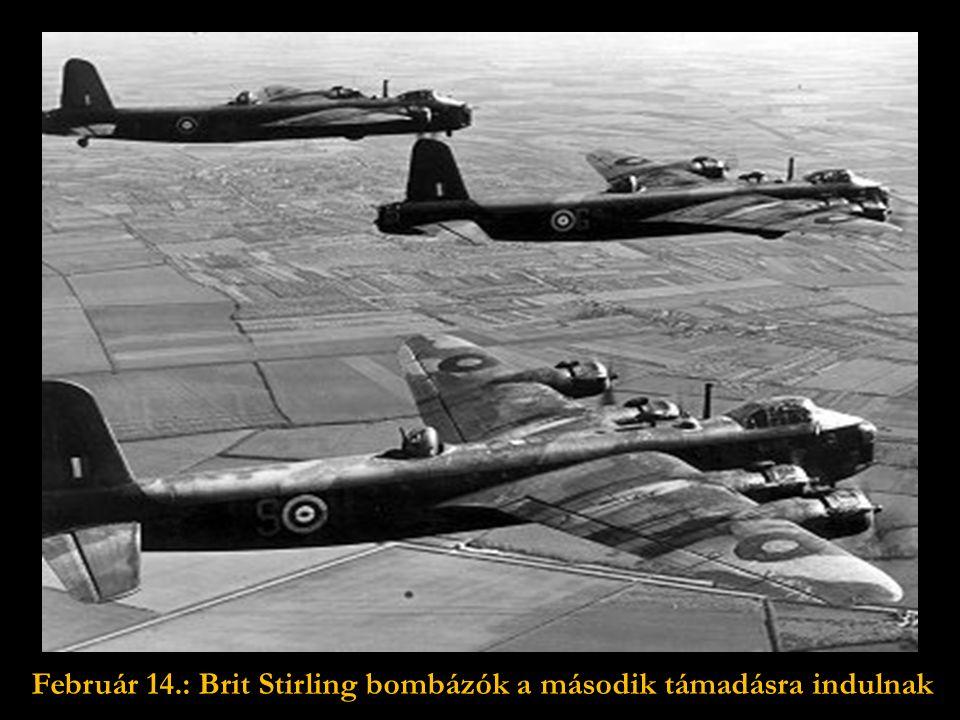 1945.február 13.: Az első éjszakai támadásra repülő brit bombázók.