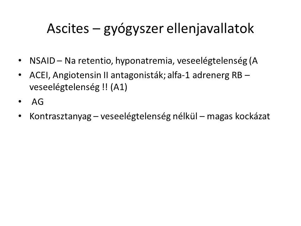 Ascites – gyógyszer ellenjavallatok NSAID – Na retentio, hyponatremia, veseelégtelenség (A ACEI, Angiotensin II antagonisták; alfa-1 adrenerg RB – ves