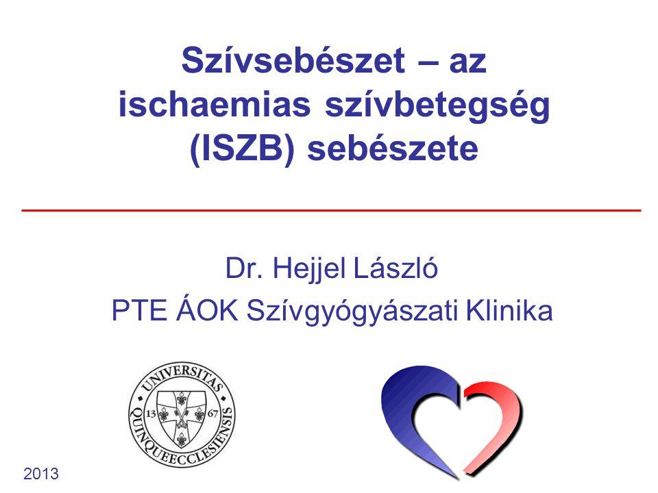 Az ISZB patofiziológiája az oxigenizáció csak a perfúzió növelésével fokozható terheléskor (coronaria rezerv) a szívizom fajlagos oxigénfogyasztása a legmagasabb: 9-10 ml/100g/perc a makroerg foszfátok 10-15 percig fedezik a szív energiaigényét a bal kamrai subendocardialis régióban systole alatt nincs áramlás 70-80 %-os nyugalmi oxigén-extrakció