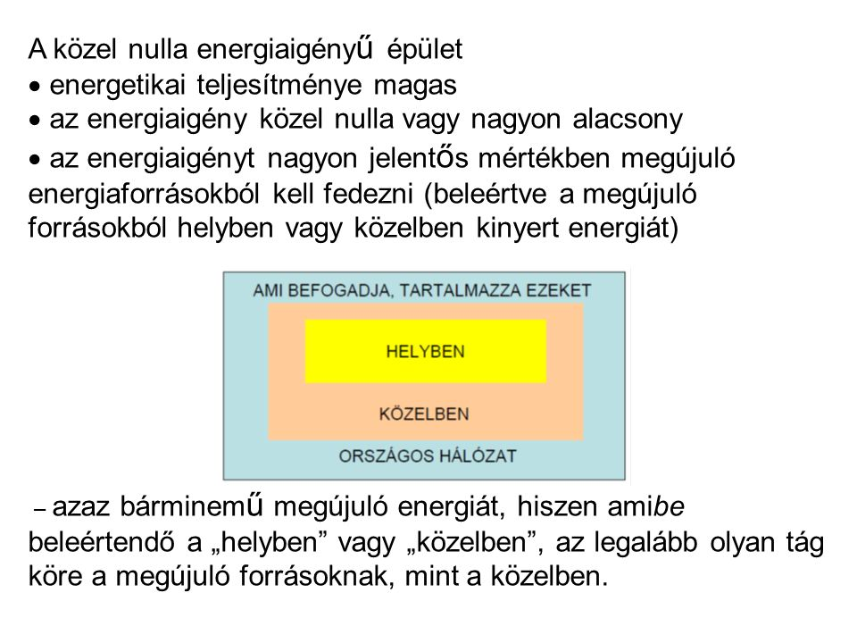 """A közel nulla energiaigény ű épület  energetikai teljesítménye magas  az energiaigény közel nulla vagy nagyon alacsony  az energiaigényt nagyon jelent ő s mértékben megújuló energiaforrásokból kell fedezni (beleértve a megújuló forrásokból helyben vagy közelben kinyert energiát) – azaz bárminem ű megújuló energiát, hiszen amibe beleértendő a """"helyben vagy """"közelben , az legalább olyan tág köre a megújuló forrásoknak, mint a közelben."""