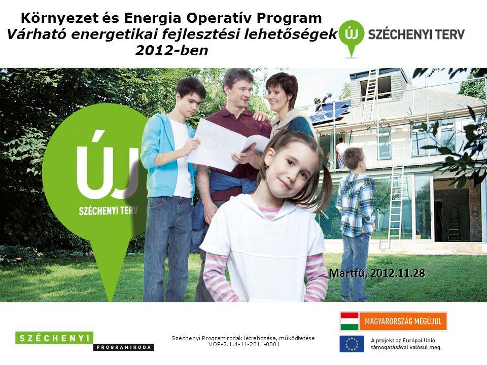 Környezet és Energia Operatív Program Várható energetikai fejlesztési lehetőségek 2012-ben Széchenyi Programirodák létrehozása, működtetése VOP-2.1.4-11-2011-0001 Martfű, 2012.11.28