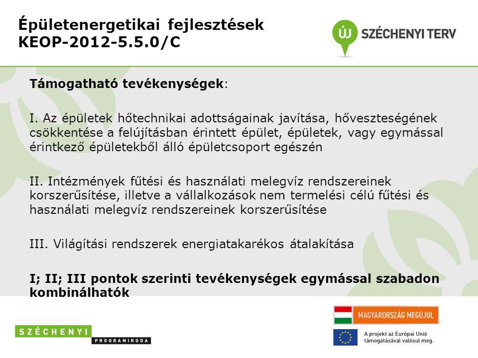 Épületenergetikai fejlesztések KEOP-2012-5.5.0/C Támogatható tevékenységek: I.