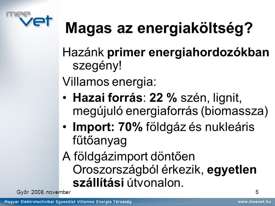 Győr 2008. november5 Magas az energiaköltség. Hazánk primer energiahordozókban szegény.