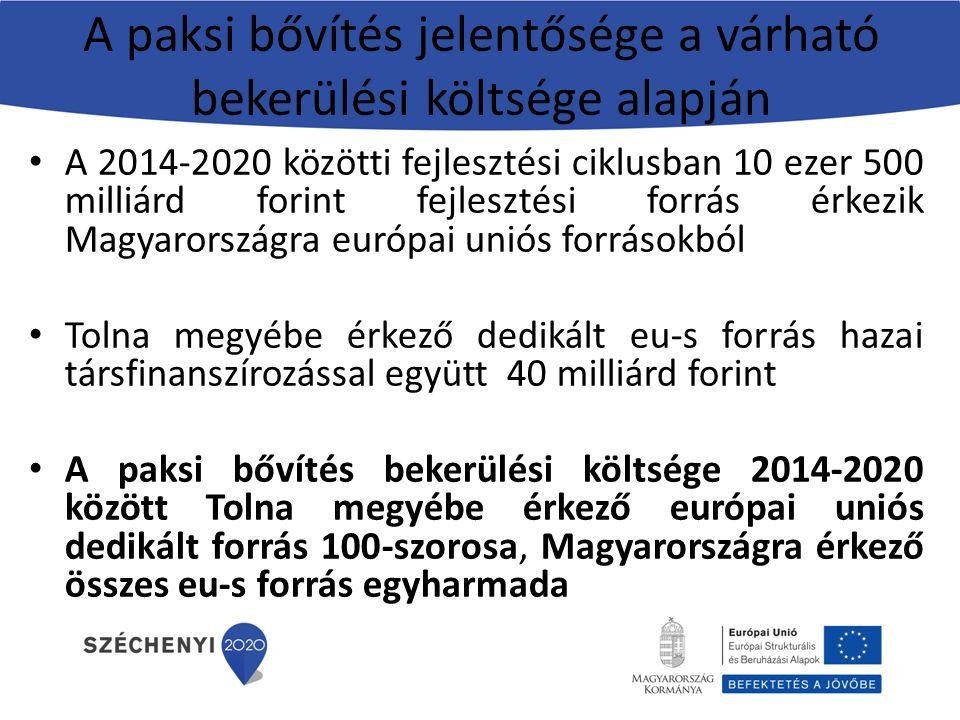 A paksi bővítés jelentősége a várható bekerülési költsége alapján A 2014-2020 közötti fejlesztési ciklusban 10 ezer 500 milliárd forint fejlesztési forrás érkezik Magyarországra európai uniós forrásokból Tolna megyébe érkező dedikált eu-s forrás hazai társfinanszírozással együtt 40 milliárd forint A paksi bővítés bekerülési költsége 2014-2020 között Tolna megyébe érkező európai uniós dedikált forrás 100-szorosa, Magyarországra érkező összes eu-s forrás egyharmada