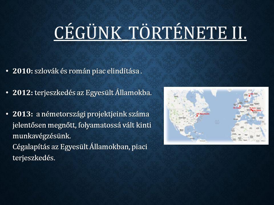 CÉGÜNK _ TÖRTÉNETE II. CÉGÜNK_TÖRTÉNETE II. 2010: szlovák és román piac elindítása.