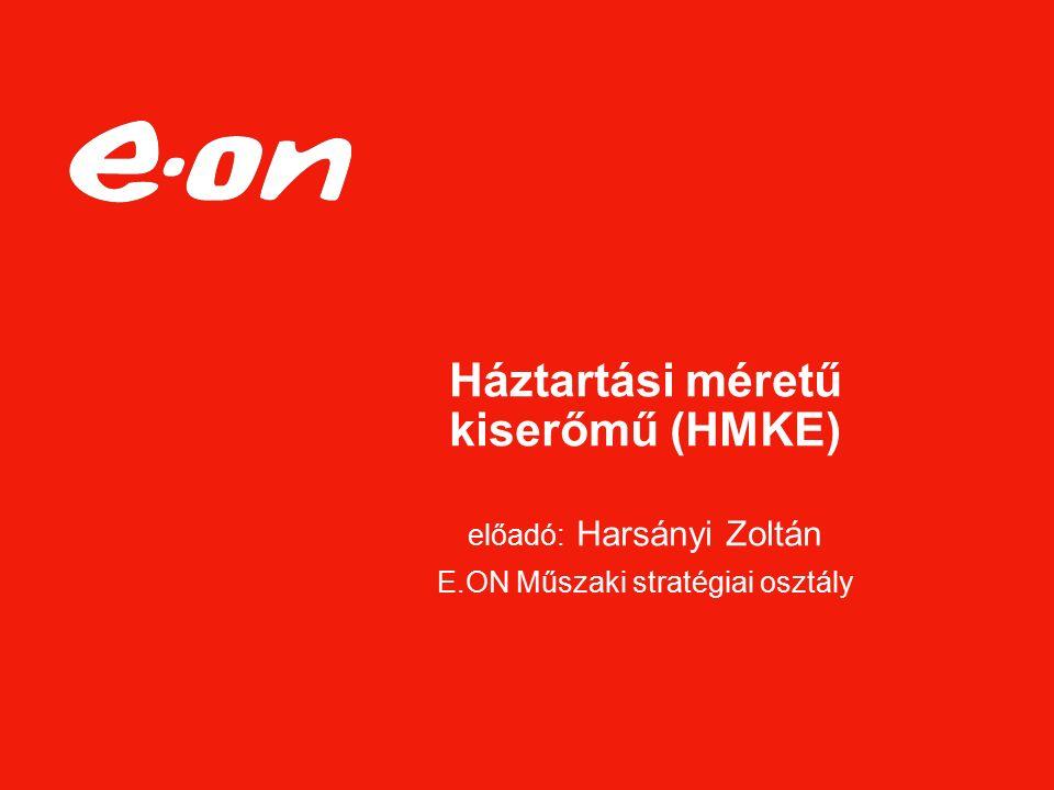 Háztartási méretű kiserőmű (HMKE) előadó: Harsányi Zoltán E.ON Műszaki stratégiai osztály
