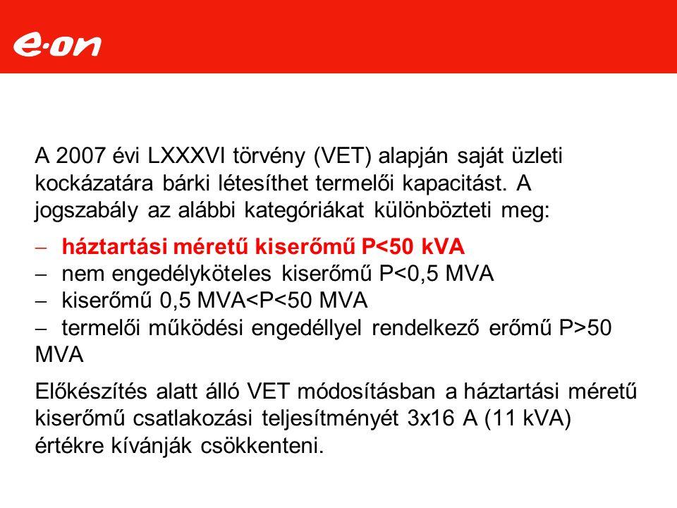 A 2007 évi LXXXVI törvény (VET) alapján saját üzleti kockázatára bárki létesíthet termelői kapacitást. A jogszabály az alábbi kategóriákat különböztet