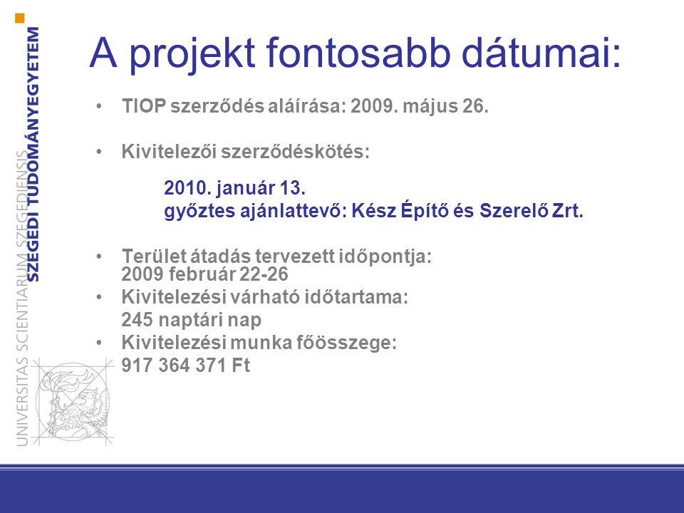 A projekt fontosabb dátumai: TIOP szerződés aláírása: 2009.