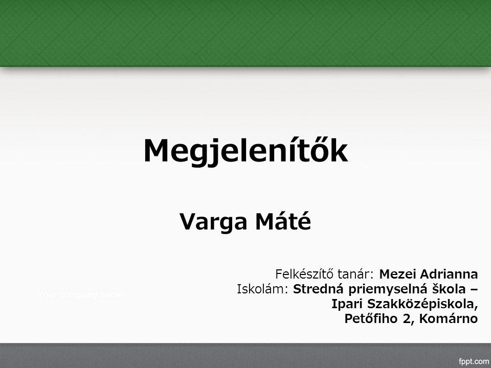 Megjelenítők Varga Máté Felkészítő tanár: Mezei Adrianna Iskolám: Stredná priemyselná škola – Ipari Szakközépiskola, Petőfiho 2, Komárno