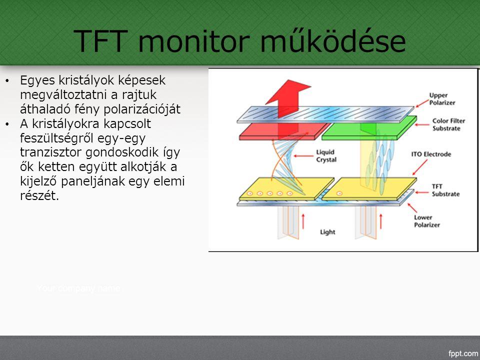 TFT monitor működése Egyes kristályok képesek megváltoztatni a rajtuk áthaladó fény polarizációját A kristályokra kapcsolt feszültségről egy-egy tranzisztor gondoskodik így ők ketten együtt alkotják a kijelző paneljának egy elemi részét.