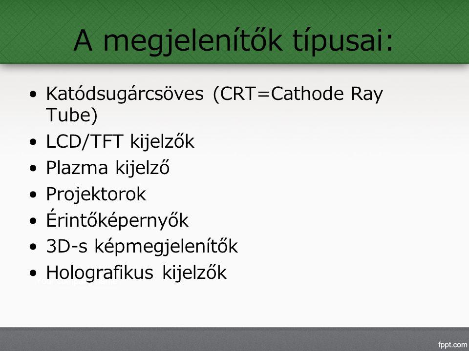 A megjelenítők típusai: Katódsugárcsöves (CRT=Cathode Ray Tube) LCD/TFT kijelzők Plazma kijelző Projektorok Érintőképernyők 3D-s képmegjelenítők Holografikus kijelzők