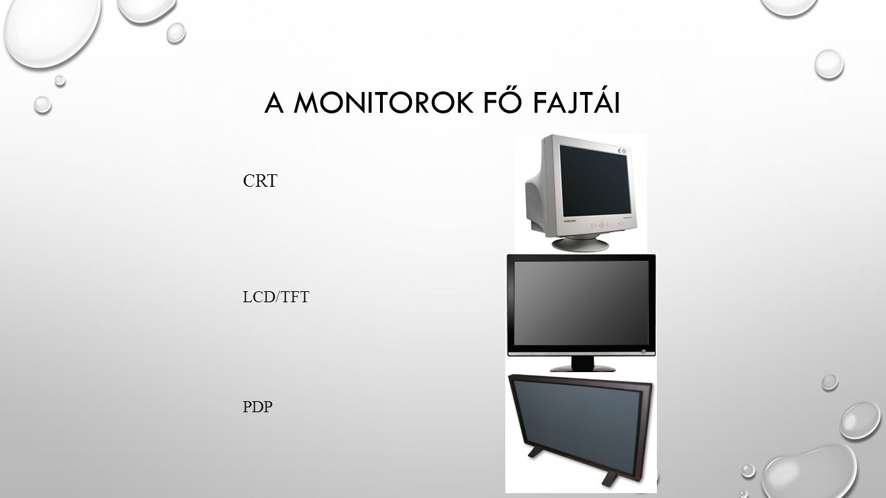 CRT MONITOR A CRT (CATHODE RAY TUBE) MONITOR A HAGYOMÀNYOS KATÓDSUGÁRCSÖVES MONITOR.