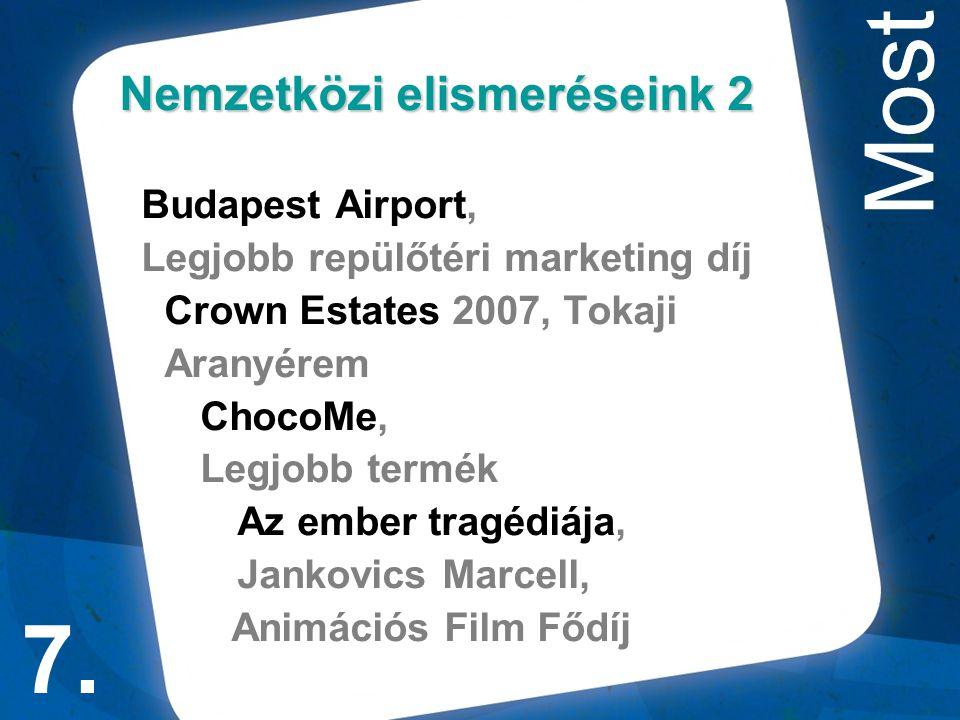 Nemzetközi elismeréseink 2 Budapest Airport, Legjobb repülőtéri marketing díj Crown Estates 2007, Tokaji Aranyérem ChocoMe, Legjobb termék Az ember tragédiája, Jankovics Marcell, Animációs Film Fődíj 7.