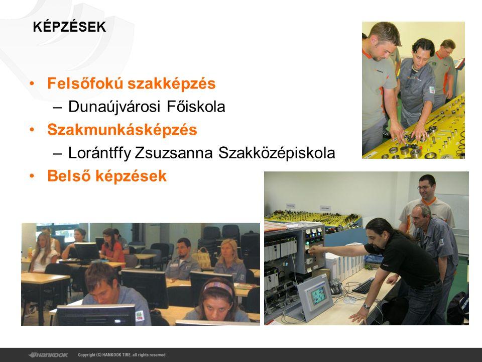 KÉPZÉSEK Felsőfokú szakképzés –Dunaújvárosi Főiskola Szakmunkásképzés –Lorántffy Zsuzsanna Szakközépiskola Belső képzések