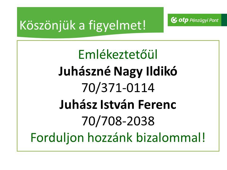 Emlékeztetőül Juhászné Nagy Ildikó 70/371-0114 Juhász István Ferenc 70/708-2038 Forduljon hozzánk bizalommal! Köszönjük a figyelmet!