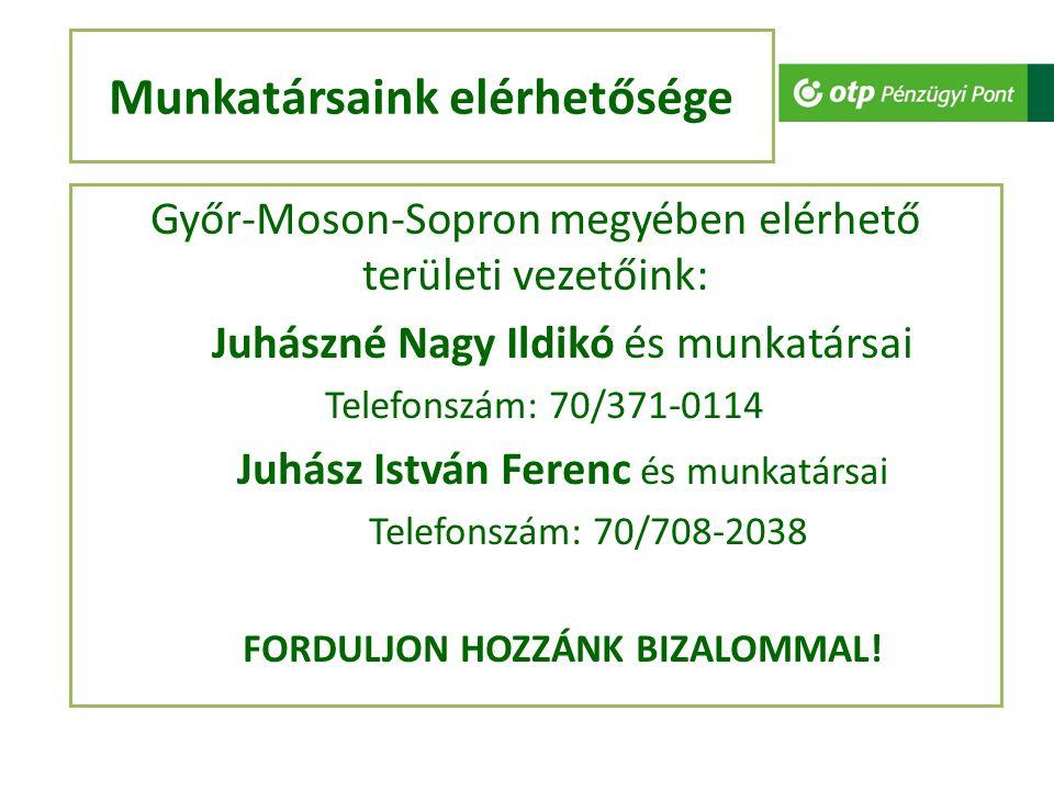 Munkatársaink elérhetősége Győr-Moson-Sopron megyében elérhető területi vezetőink: Juhászné Nagy Ildikó és munkatársai Telefonszám: 70/371-0114 Juhász