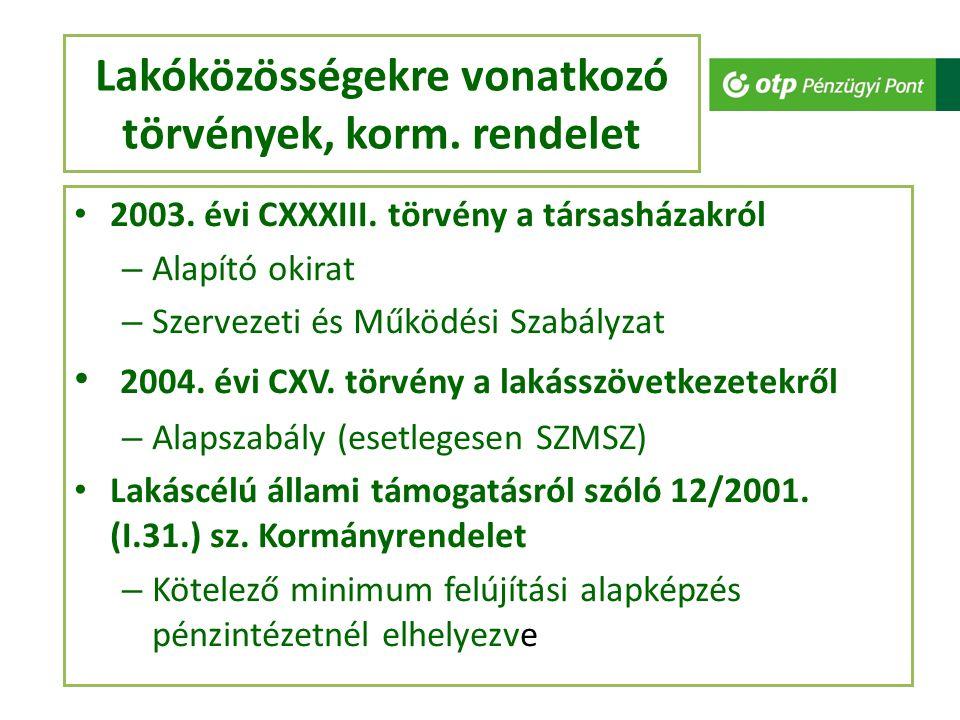Lakóközösségekre vonatkozó törvények, korm. rendelet 2003. évi CXXXIII. törvény a társasházakról – Alapító okirat – Szervezeti és Működési Szabályzat