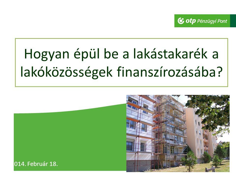 Hogyan épül be a lakástakarék a lakóközösségek finanszírozásába 2014. Február 18.