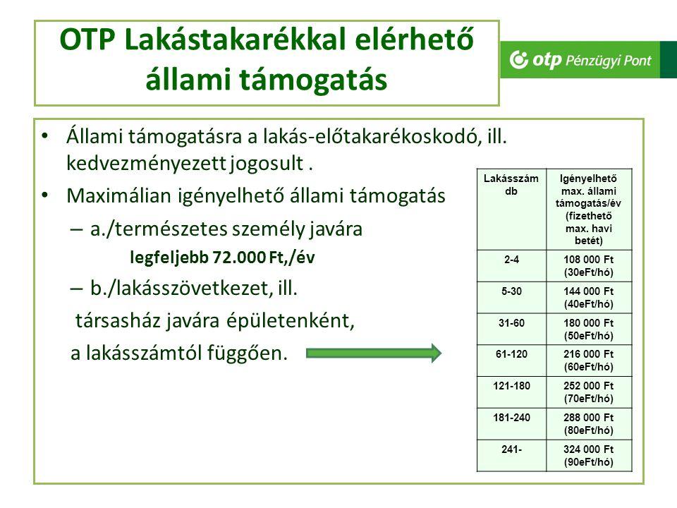 OTP Lakástakarékkal elérhető állami támogatás Állami támogatásra a lakás-előtakarékoskodó, ill. kedvezményezett jogosult. Maximálian igényelhető állam