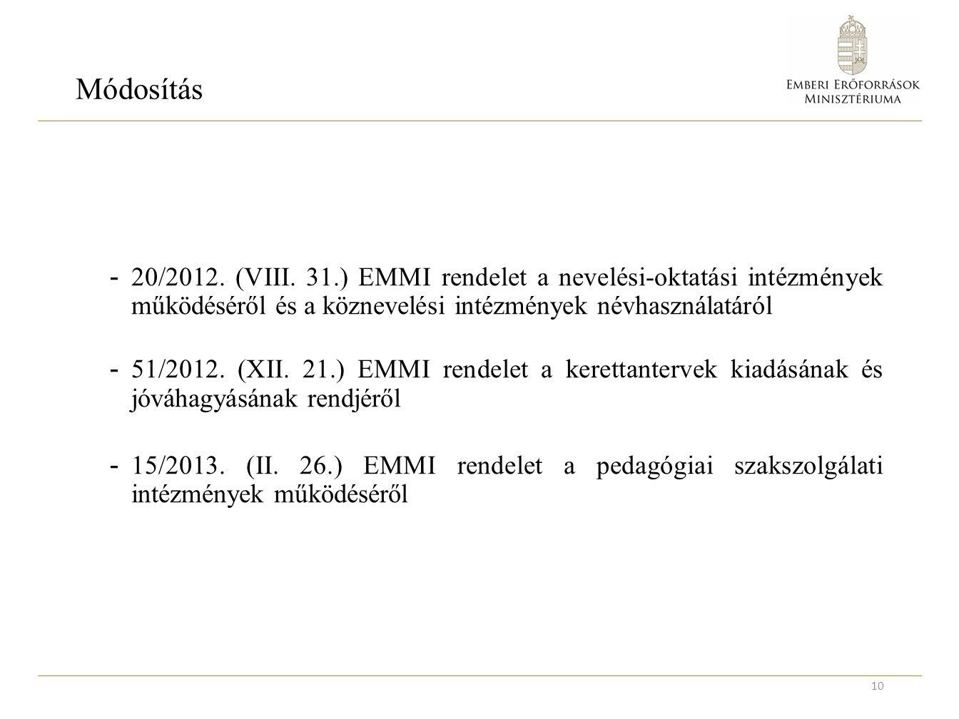 Módosítás - 20/2012. (VIII.