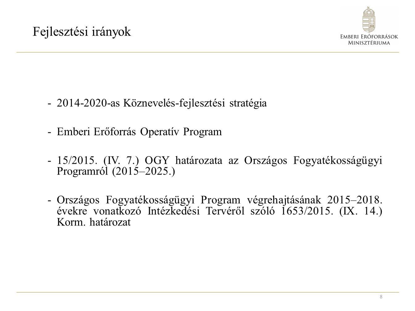 Fejlesztési irányok -2014-2020-as Köznevelés-fejlesztési stratégia -Emberi Erőforrás Operatív Program -15/2015.
