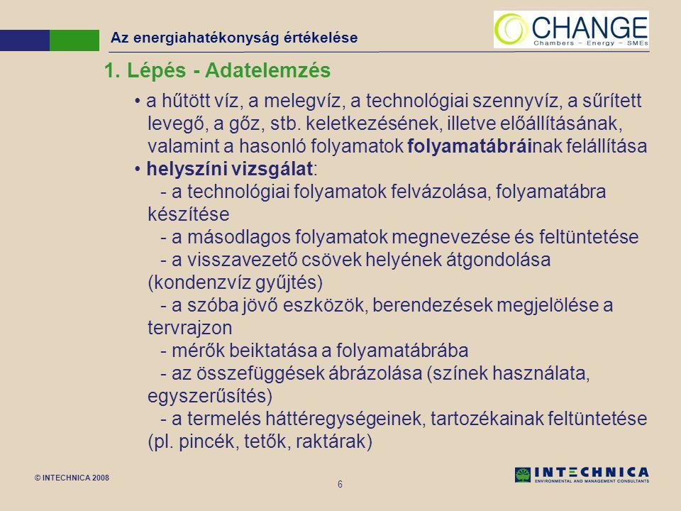 © INTECHNICA 2008 6 a hűtött víz, a melegvíz, a technológiai szennyvíz, a sűrített levegő, a gőz, stb.