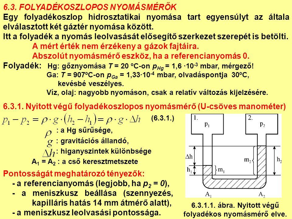 6.3. FOLYADÉKOSZLOPOS NYOMÁSMÉRŐK Egy folyadékoszlop hidrosztatikai nyomása tart egyensúlyt az általa elválasztott két gáztér nyomása között. Itt a fo