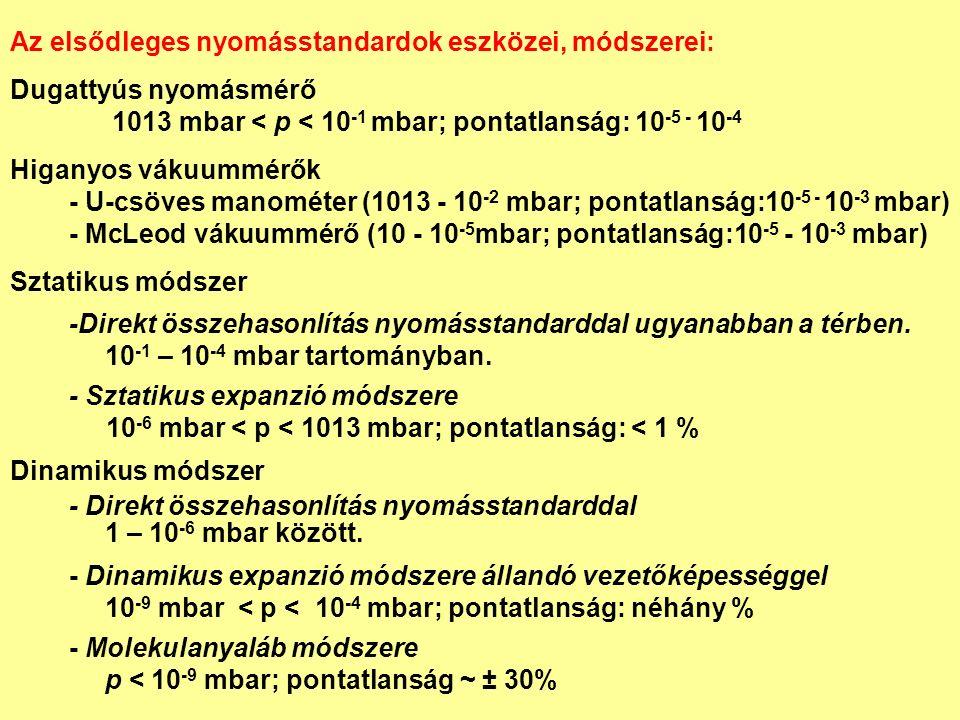 Az elsődleges nyomásstandardok eszközei, módszerei: Dugattyús nyomásmérő 1013 mbar < p < 10 -1 mbar; pontatlanság: 10 -5 - 10 -4 Higanyos vákuummérők - U-csöves manométer (1013 - 10 -2 mbar; pontatlanság:10 -5 - 10 -3 mbar) - McLeod vákuummérő (10 - 10 -5 mbar; pontatlanság:10 -5 - 10 -3 mbar) Sztatikus módszer -Direkt összehasonlítás nyomásstandarddal ugyanabban a térben.